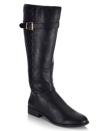 Below Knee Riding Boot - predominant colour: black; occasions: casual; material: leather; heel height: flat; heel: standard; toe: round toe; boot length: knee; style: riding; finish: plain; pattern: plain; wardrobe: investment; season: a/w 2016