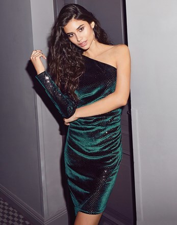 One Shoulder Velvet Sequin Dress - fit: tight; pattern: plain; sleeve style: sleeveless; style: asymmetric (top); neckline: asymmetric; predominant colour: dark green; occasions: evening; length: just above the knee; fibres: polyester/polyamide - stretch; sleeve length: sleeveless; pattern type: fabric; texture group: velvet/fabrics with pile; season: a/w 2016