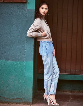 Metallic Mom Jeans - length: standard; pattern: plain; pocket detail: traditional 5 pocket; waist: mid/regular rise; style: tapered; predominant colour: denim; occasions: casual; fibres: cotton - 100%; jeans detail: washed/faded; texture group: denim; pattern type: fabric; wardrobe: basic; season: a/w 2016