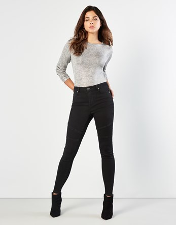 Biker Skinny Jeans - style: skinny leg; length: standard; pattern: plain; pocket detail: traditional 5 pocket; waist: mid/regular rise; predominant colour: black; occasions: casual; fibres: cotton - stretch; texture group: denim; pattern type: fabric; wardrobe: basic; season: a/w 2016