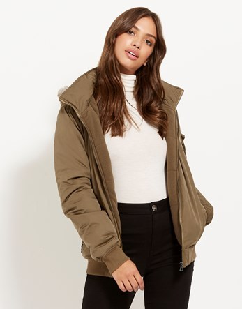 Bomber Jacket - pattern: plain; collar: round collar/collarless; length: below the bottom; back detail: hood; fit: slim fit; style: bomber; predominant colour: khaki; occasions: casual; fibres: polyester/polyamide - mix; sleeve length: long sleeve; sleeve style: standard; collar break: high; pattern type: fabric; texture group: woven light midweight; wardrobe: basic; season: a/w 2016