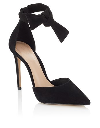 High Heel Pointy Toe Pumps - predominant colour: black; occasions: evening; material: leather; ankle detail: ankle tie; heel: stiletto; toe: pointed toe; style: courts; finish: plain; pattern: plain; heel height: very high; season: a/w 2016; wardrobe: event