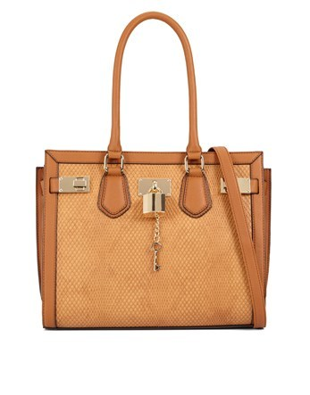 Snake Tote With Lock Detail - predominant colour: camel; occasions: casual; type of pattern: standard; style: tote; length: shoulder (tucks under arm); size: standard; material: faux leather; pattern: plain; finish: plain; season: a/w 2016