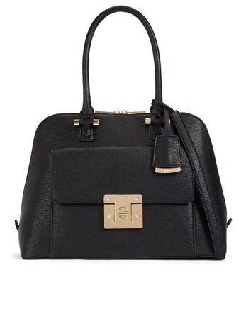 Large Dome Handbag - predominant colour: black; occasions: casual; type of pattern: standard; style: tote; length: shoulder (tucks under arm); size: standard; material: faux leather; pattern: plain; finish: plain; season: a/w 2016