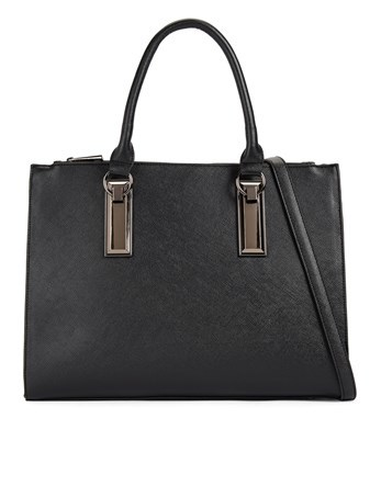 Large Tote With Lock Detail - predominant colour: black; occasions: work, creative work; type of pattern: standard; style: tote; length: handle; size: standard; material: faux leather; pattern: plain; finish: plain; season: a/w 2016