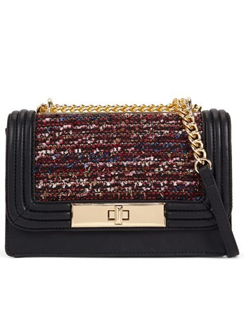 Boucle Crossbody Bag - predominant colour: black; occasions: evening; type of pattern: light; style: shoulder; length: shoulder (tucks under arm); size: small; material: faux leather; finish: plain; pattern: patterned/print; season: a/w 2016; wardrobe: event