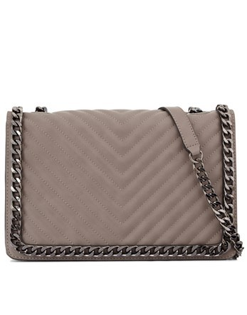 Quilted Cross Body - predominant colour: taupe; occasions: work, creative work; type of pattern: standard; style: shoulder; length: shoulder (tucks under arm); size: small; material: leather; pattern: plain; finish: plain; wardrobe: investment; season: a/w 2016