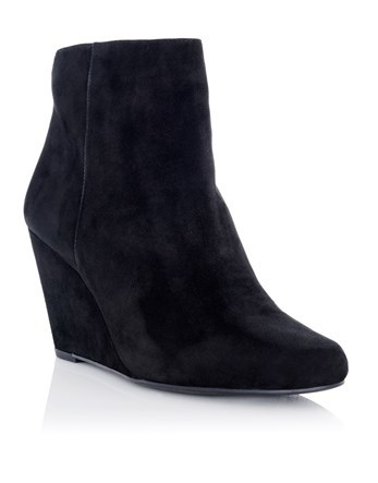 Wedged Boots - predominant colour: black; occasions: casual; material: suede; heel height: mid; heel: wedge; toe: round toe; boot length: ankle boot; style: standard; finish: plain; pattern: plain; wardrobe: basic; season: a/w 2016