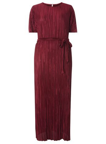 Red Pleated T Shirt Dress - neckline: round neck; fit: loose; pattern: plain; style: maxi dress; waist detail: belted waist/tie at waist/drawstring; predominant colour: burgundy; occasions: casual; length: floor length; fibres: polyester/polyamide - 100%; sleeve length: short sleeve; sleeve style: standard; pattern type: fabric; texture group: jersey - stretchy/drapey; season: a/w 2016; wardrobe: highlight
