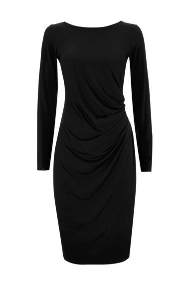 Black Ruche Side Dress - style: shift; pattern: plain; waist detail: flattering waist detail; predominant colour: black; occasions: evening, work, creative work; length: on the knee; fit: body skimming; fibres: polyester/polyamide - stretch; neckline: crew; sleeve length: long sleeve; sleeve style: standard; pattern type: fabric; texture group: jersey - stretchy/drapey; wardrobe: investment; season: a/w 2016