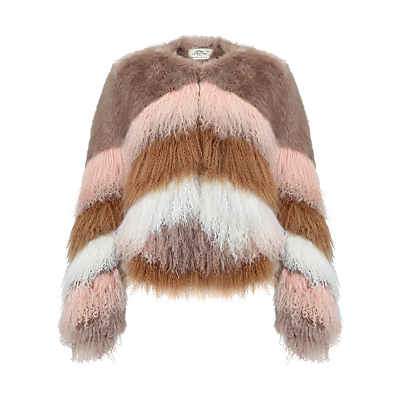Flossy Chubby Coat, Multi - length: standard; pattern: striped; collar: round collar/collarless; secondary colour: blush; predominant colour: taupe; fit: straight cut (boxy); fibres: wool - mix; style: fur coat; sleeve length: long sleeve; sleeve style: standard; texture group: fur; collar break: high; pattern type: fabric; pattern size: standard; occasions: creative work; multicoloured: multicoloured; season: a/w 2016; wardrobe: highlight