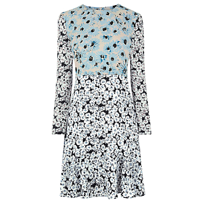Daisy Flippy Dress, Multi - predominant colour: pale blue; secondary colour: black; occasions: evening, creative work; length: just above the knee; fit: fitted at waist & bust; style: fit & flare; fibres: polyester/polyamide - 100%; neckline: crew; sleeve length: long sleeve; sleeve style: standard; pattern type: fabric; pattern: patterned/print; texture group: jersey - stretchy/drapey; multicoloured: multicoloured; season: a/w 2016