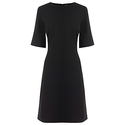 Ponte Dress, Black - pattern: plain; predominant colour: black; occasions: evening, work; length: just above the knee; fit: fitted at waist & bust; style: fit & flare; fibres: viscose/rayon - stretch; neckline: crew; sleeve length: short sleeve; sleeve style: standard; pattern type: fabric; texture group: jersey - stretchy/drapey; wardrobe: investment; season: a/w 2016