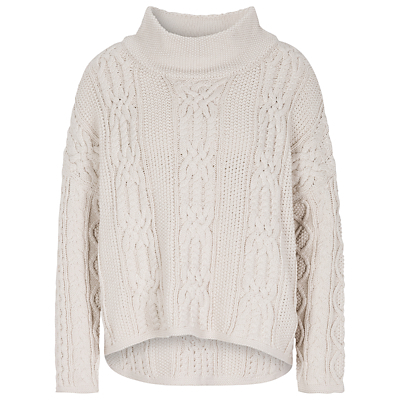 Cable Knit Funnel Jumper, Light Stone - neckline: roll neck; style: standard; pattern: cable knit; predominant colour: light grey; occasions: casual; length: standard; fibres: cotton - 100%; fit: loose; sleeve length: long sleeve; sleeve style: standard; texture group: knits/crochet; pattern type: knitted - other; season: a/w 2016; wardrobe: highlight; trends: chunky knits