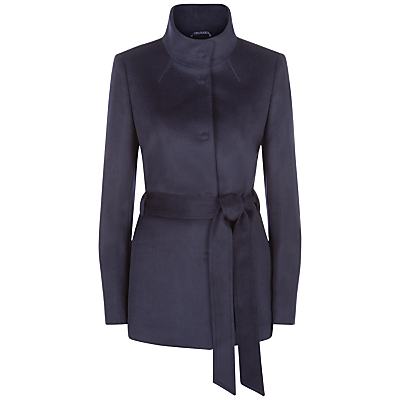 Wool Funnel Neck Coat - pattern: plain; length: below the bottom; collar: funnel; style: single breasted; predominant colour: navy; occasions: casual, work, creative work; fit: tailored/fitted; fibres: wool - 100%; waist detail: belted waist/tie at waist/drawstring; sleeve length: long sleeve; sleeve style: standard; collar break: high; pattern type: fabric; pattern size: standard; texture group: woven bulky/heavy; wardrobe: basic; season: a/w 2016