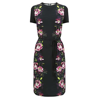 Painted Shirt Dress, Black - style: shift; fit: fitted at waist; secondary colour: hot pink; predominant colour: black; occasions: evening; length: on the knee; fibres: polyester/polyamide - 100%; neckline: crew; sleeve length: short sleeve; sleeve style: standard; pattern type: fabric; pattern: florals; texture group: jersey - stretchy/drapey; multicoloured: multicoloured; season: a/w 2016; wardrobe: event