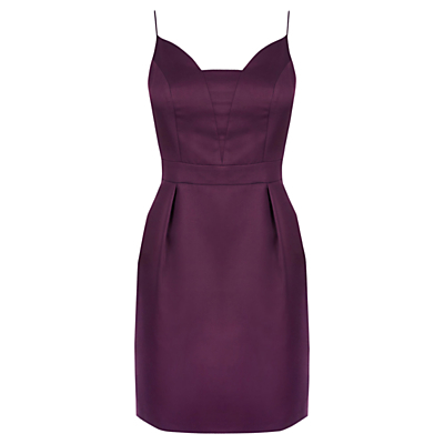 Satin Tulip Cami Dress, Berry - sleeve style: spaghetti straps; fit: tailored/fitted; pattern: plain; style: tulip; neckline: sweetheart; predominant colour: purple; occasions: evening; length: just above the knee; fibres: polyester/polyamide - 100%; sleeve length: sleeveless; texture group: structured shiny - satin/tafetta/silk etc.; pattern type: fabric; season: a/w 2016; wardrobe: event