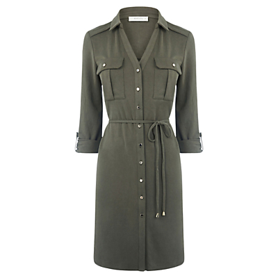 Textured Shirt Dress, Khaki - style: shirt; length: mid thigh; neckline: shirt collar/peter pan/zip with opening; fit: fitted at waist; pattern: plain; bust detail: pocket detail at bust; waist detail: belted waist/tie at waist/drawstring; predominant colour: khaki; occasions: casual, creative work; fibres: polyester/polyamide - 100%; sleeve length: 3/4 length; sleeve style: standard; texture group: crepes; pattern type: fabric; season: a/w 2016; trends: military