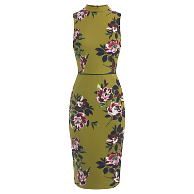 Painterly Floral Pencil Dress, Multi - style: shift; fit: tailored/fitted; sleeve style: sleeveless; neckline: high neck; hip detail: draws attention to hips; secondary colour: magenta; predominant colour: lime; occasions: evening, occasion; length: on the knee; fibres: polyester/polyamide - 100%; sleeve length: sleeveless; texture group: crepes; pattern type: fabric; pattern: florals; multicoloured: multicoloured; season: a/w 2016; wardrobe: event