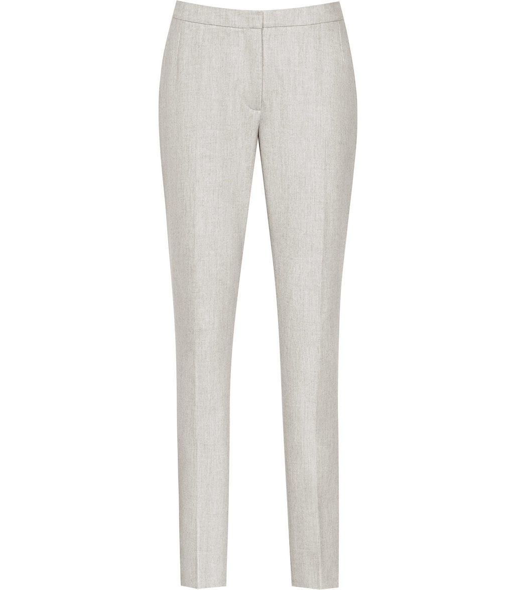 Connelly Trouser Womens Tailored Trousers In Grey - length: standard; pattern: plain; style: peg leg; waist: mid/regular rise; predominant colour: light grey; occasions: work, creative work; fibres: wool - 100%; fit: tapered; pattern type: fabric; texture group: woven light midweight; wardrobe: basic; season: a/w 2016