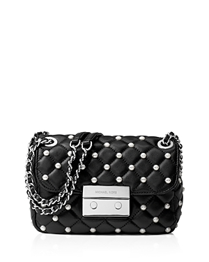 Small Sloan Faux Pearl Chain Shoulder Bag - secondary colour: silver; predominant colour: black; occasions: casual, creative work; type of pattern: standard; style: shoulder; length: shoulder (tucks under arm); size: small; material: leather; embellishment: crystals/glass; pattern: plain; finish: plain; wardrobe: investment; season: a/w 2016