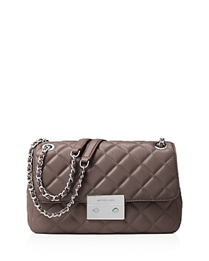 Sloan Large Chain Shoulder Bag - predominant colour: taupe; secondary colour: silver; occasions: casual, creative work; type of pattern: standard; style: shoulder; length: shoulder (tucks under arm); size: standard; material: leather; pattern: plain; finish: plain; embellishment: chain/metal; wardrobe: investment; season: a/w 2016