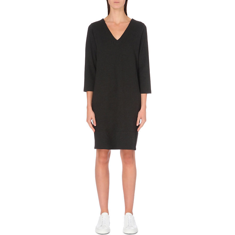V Neck Stretch Jersey Dress, Women's, Darkcharcmarl - style: shift; neckline: v-neck; pattern: plain; predominant colour: black; occasions: evening; length: on the knee; fit: body skimming; fibres: viscose/rayon - stretch; sleeve length: 3/4 length; sleeve style: standard; pattern type: fabric; texture group: jersey - stretchy/drapey; season: a/w 2016; wardrobe: event