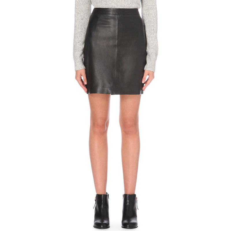 High Rise Mini Leather Skirt, Women's, Black - length: mini; pattern: plain; fit: body skimming; waist: mid/regular rise; predominant colour: black; occasions: casual, evening; style: mini skirt; fibres: leather - 100%; texture group: leather; pattern type: fabric; season: a/w 2016; wardrobe: highlight