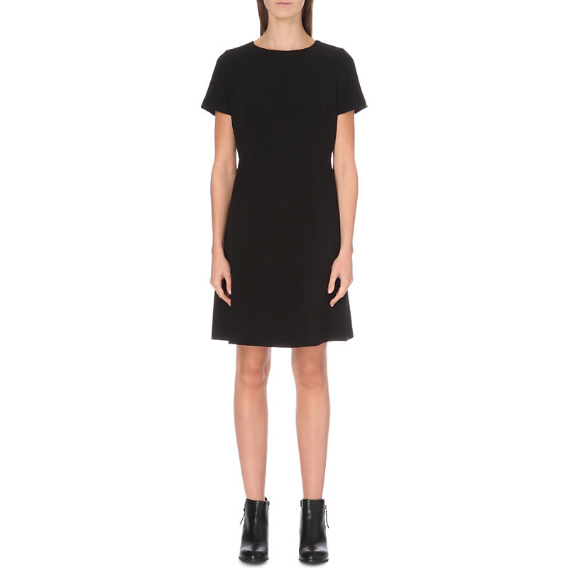Textured Boat Neck Dress, Women's, Black - style: shift; neckline: round neck; fit: fitted at waist; pattern: plain; predominant colour: black; occasions: evening; length: just above the knee; fibres: polyester/polyamide - stretch; sleeve length: short sleeve; sleeve style: standard; pattern type: fabric; pattern size: standard; texture group: woven light midweight; season: a/w 2016