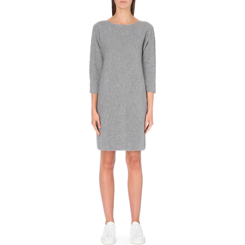 Horizontal Rib Knitted Dress, Women's, Grey Marl - style: shift; neckline: round neck; pattern: plain; predominant colour: light grey; occasions: casual, creative work; length: just above the knee; fit: body skimming; fibres: wool - 100%; sleeve length: 3/4 length; sleeve style: standard; pattern type: fabric; pattern size: standard; texture group: jersey - stretchy/drapey; wardrobe: basic; season: a/w 2016
