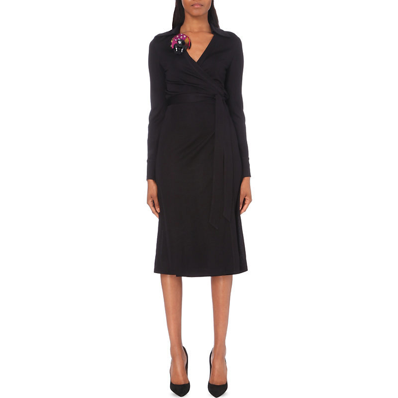 Cybil Crepe Dress, Women's, Black - style: faux wrap/wrap; length: below the knee; neckline: v-neck; pattern: plain; waist detail: belted waist/tie at waist/drawstring; predominant colour: black; occasions: evening; fit: body skimming; fibres: viscose/rayon - 100%; sleeve length: long sleeve; sleeve style: standard; texture group: crepes; pattern type: fabric; season: a/w 2016; wardrobe: event