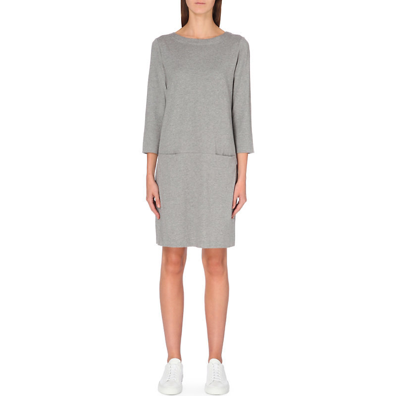 Cotton Blend Shift Dress, Women's, Silvergreymarl - style: shift; neckline: round neck; pattern: plain; predominant colour: light grey; occasions: casual, creative work; length: just above the knee; fit: body skimming; fibres: cotton - stretch; sleeve length: 3/4 length; sleeve style: standard; pattern type: fabric; texture group: other - light to midweight; wardrobe: basic; season: a/w 2016