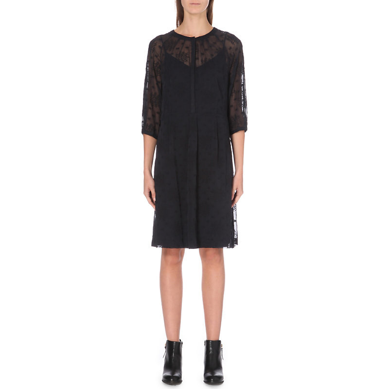 Floral Embroidered Chiffon Dress, Women's, Blue - style: shift; pattern: plain; bust detail: sheer at bust; predominant colour: black; occasions: evening; length: on the knee; fit: body skimming; fibres: polyester/polyamide - 100%; neckline: crew; sleeve length: long sleeve; sleeve style: standard; pattern type: fabric; texture group: other - light to midweight; season: a/w 2016