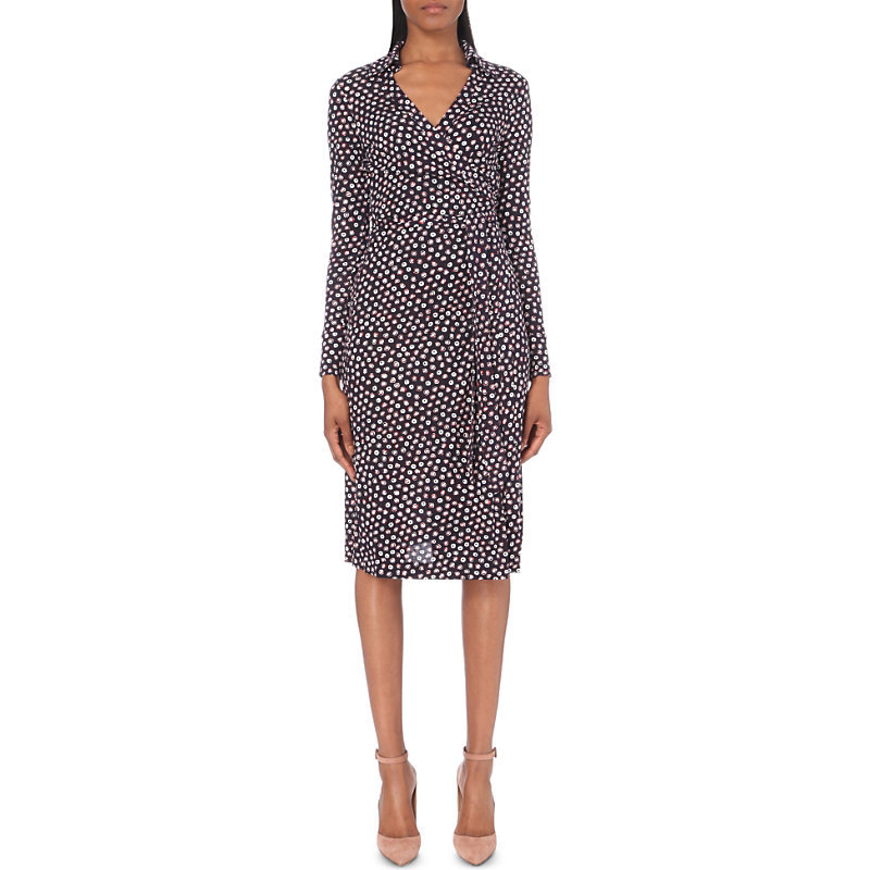 Cybil Silk Midi Dress, Women's, Pirouette Dot Navy - style: faux wrap/wrap; neckline: v-neck; fit: fitted at waist; secondary colour: white; predominant colour: navy; occasions: evening, work; length: on the knee; fibres: silk - 100%; sleeve length: long sleeve; sleeve style: standard; texture group: silky - light; pattern type: fabric; pattern size: light/subtle; pattern: patterned/print; multicoloured: multicoloured; season: a/w 2016; wardrobe: highlight