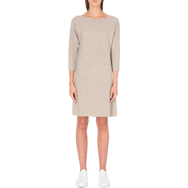 Horizontal Rib Knitted Dress, Women's, Taupe Marl - style: shift; neckline: round neck; pattern: plain; predominant colour: stone; occasions: casual, creative work; length: just above the knee; fit: soft a-line; fibres: wool - 100%; sleeve length: long sleeve; sleeve style: standard; pattern type: fabric; texture group: woven light midweight; wardrobe: basic; season: a/w 2016