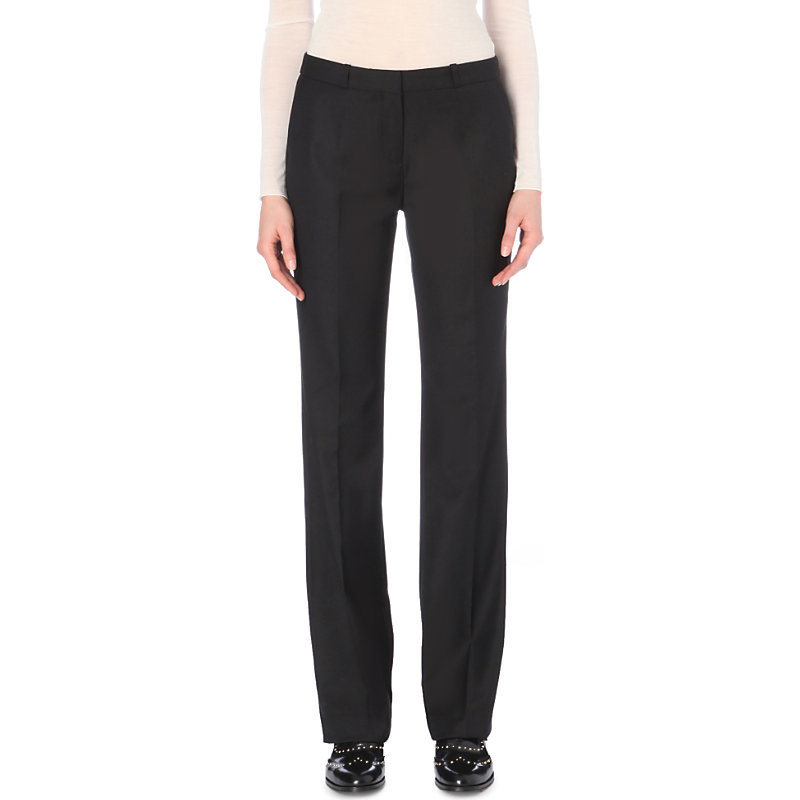Polo Wool Blend Trousers, Women's, Noir - length: standard; pattern: plain; waist: mid/regular rise; predominant colour: black; occasions: work; fibres: wool - mix; fit: wide leg; pattern type: fabric; texture group: woven light midweight; style: standard; season: a/w 2016