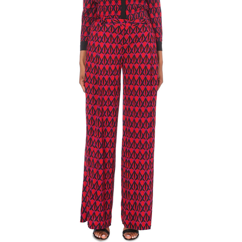Stanton Silk Trousers, Women's, Diamond Shadow Rubiate - length: standard; style: palazzo; waist: mid/regular rise; predominant colour: hot pink; secondary colour: black; occasions: casual, evening, creative work; fibres: silk - 100%; texture group: silky - light; fit: wide leg; pattern type: fabric; pattern: patterned/print; multicoloured: multicoloured; season: a/w 2016; wardrobe: highlight