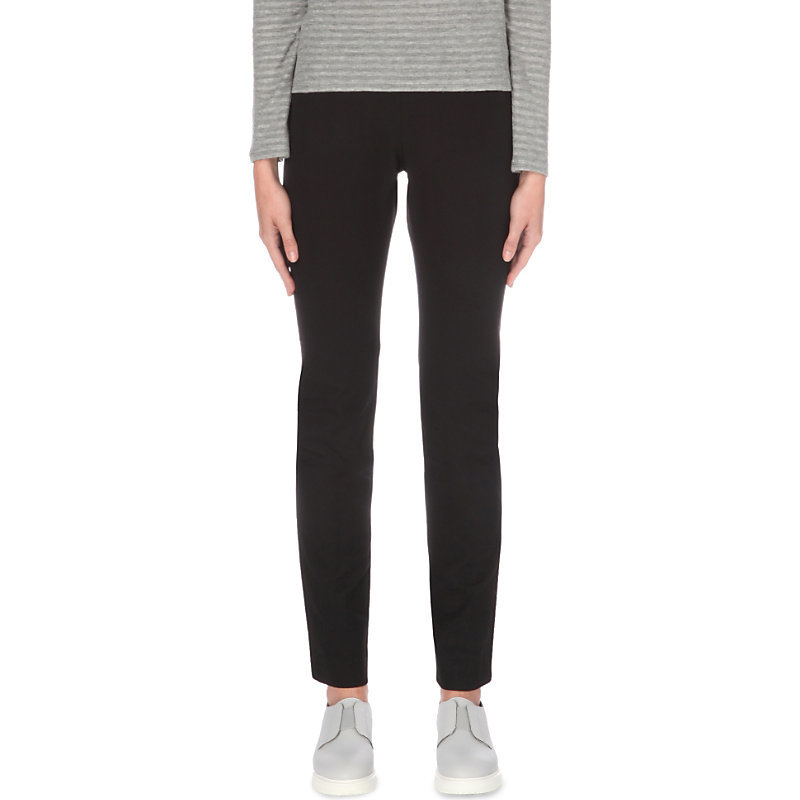 Cambridge Slim Fit Mid Rise Trousers, Women's, Black - length: standard; pattern: plain; waist: mid/regular rise; predominant colour: black; occasions: casual, creative work; fit: slim leg; pattern type: fabric; texture group: jersey - stretchy/drapey; style: standard; fibres: viscose/rayon - mix; wardrobe: basic; season: a/w 2016