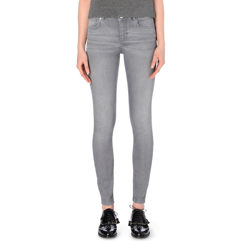 Power Ter Skinny Mid Rise Jeans, Women's, Light Gray/Dark Blue/Light Blue - length: standard; pattern: plain; pocket detail: traditional 5 pocket; style: slim leg; waist: mid/regular rise; predominant colour: mid grey; occasions: casual; fibres: cotton - stretch; jeans detail: whiskering; texture group: denim; pattern type: fabric; season: a/w 2016; wardrobe: highlight