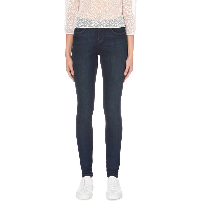 Symons High Rise Skinny Jeans, Women's, Dark Indigo - style: skinny leg; length: standard; pattern: plain; pocket detail: traditional 5 pocket; waist: mid/regular rise; predominant colour: navy; occasions: casual; fibres: cotton - stretch; texture group: denim; pattern type: fabric; wardrobe: basic; season: a/w 2016
