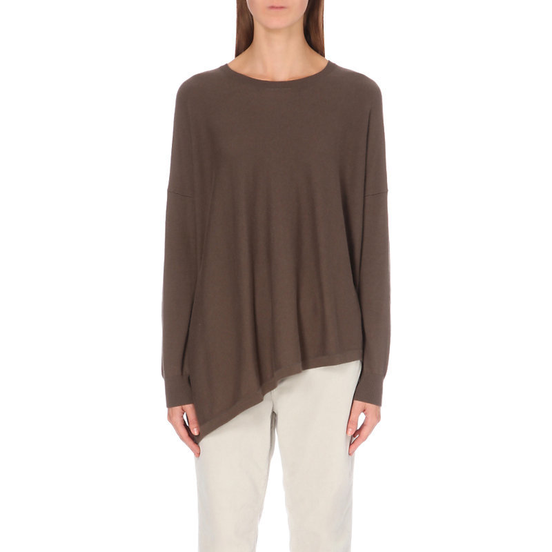 Asymmetric Cotton Blend Jumper, Women's, Clay - pattern: plain; length: below the bottom; style: standard; predominant colour: taupe; occasions: casual; fibres: cotton - mix; fit: standard fit; neckline: crew; back detail: longer hem at back than at front; sleeve length: long sleeve; sleeve style: standard; texture group: knits/crochet; pattern type: knitted - fine stitch; wardrobe: basic; season: a/w 2016