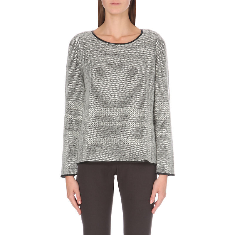 Leather Trim Textured Knitted Jumper, Women's, Grey - neckline: round neck; pattern: horizontal stripes; style: standard; predominant colour: light grey; occasions: casual; length: standard; fibres: cotton - mix; fit: standard fit; sleeve length: long sleeve; sleeve style: standard; texture group: knits/crochet; pattern type: knitted - other; season: a/w 2016; wardrobe: highlight