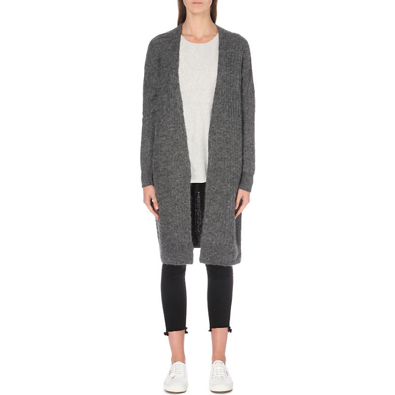 Longline Ribbed Knit Cardigan, Women's, Darkcharcmarl - pattern: plain; neckline: collarless open; style: open front; length: on the knee; predominant colour: charcoal; occasions: casual, creative work; fibres: wool - 100%; fit: loose; sleeve length: long sleeve; sleeve style: standard; texture group: knits/crochet; pattern type: knitted - fine stitch; wardrobe: basic; season: a/w 2016