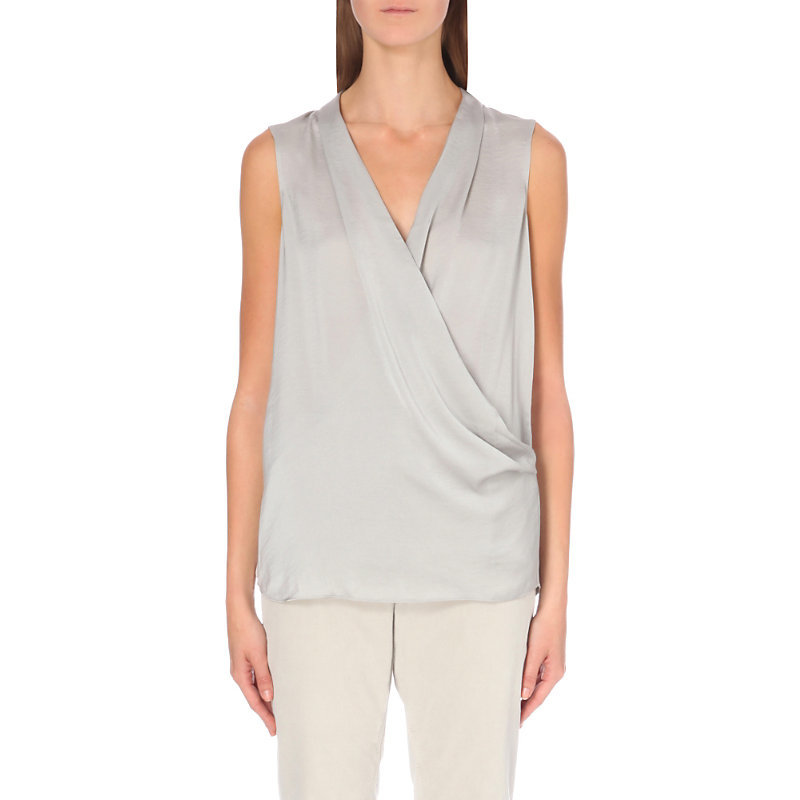 Wrap Front Satin Top, Women's, Sea Green - neckline: v-neck; pattern: plain; sleeve style: sleeveless; style: wrap/faux wrap; predominant colour: light grey; occasions: evening; length: standard; fibres: polyester/polyamide - 100%; fit: body skimming; sleeve length: sleeveless; texture group: structured shiny - satin/tafetta/silk etc.; pattern type: fabric; season: a/w 2016; wardrobe: event