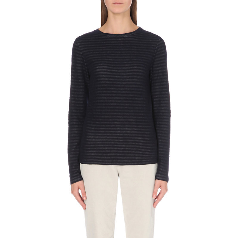 Jacquard Stripe Knitted Top, Women's, Blue - neckline: round neck; pattern: plain; predominant colour: navy; occasions: casual, work, creative work; length: standard; style: top; fibres: wool - 100%; fit: body skimming; sleeve length: long sleeve; sleeve style: standard; texture group: knits/crochet; pattern type: knitted - fine stitch; wardrobe: basic; season: a/w 2016