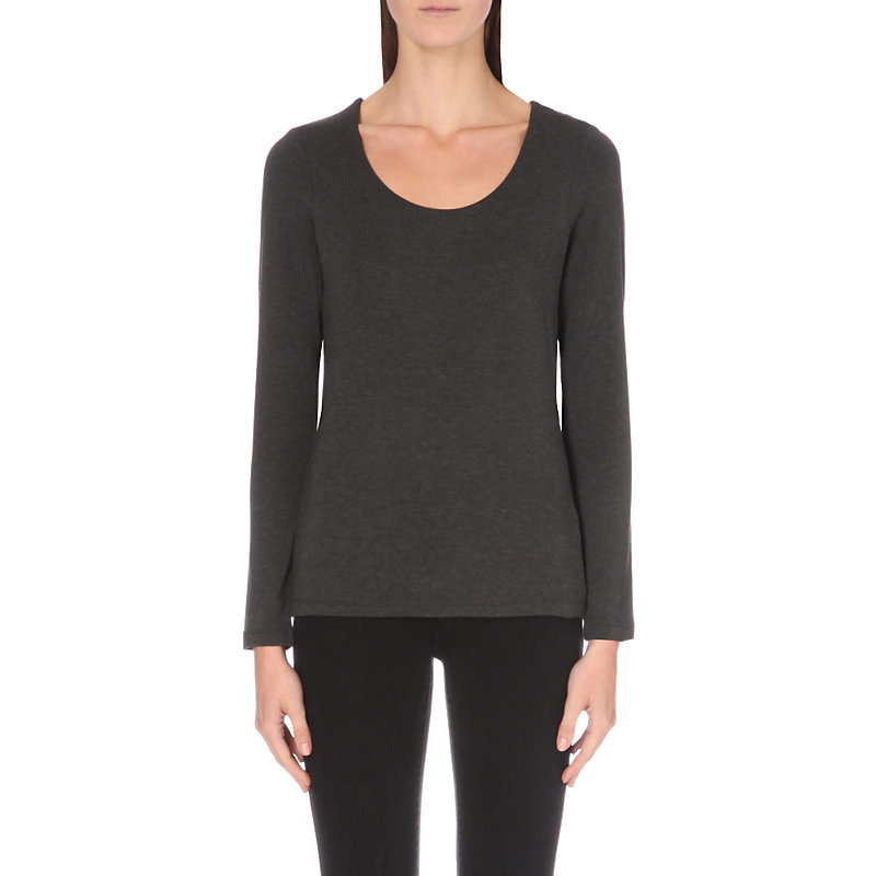 Essential Layered Jersey Top, Women's, Darkcharcmarl - pattern: plain; predominant colour: charcoal; occasions: casual, work, creative work; length: standard; style: top; neckline: scoop; fibres: viscose/rayon - stretch; fit: body skimming; sleeve length: long sleeve; sleeve style: standard; pattern type: fabric; texture group: jersey - stretchy/drapey; season: a/w 2016