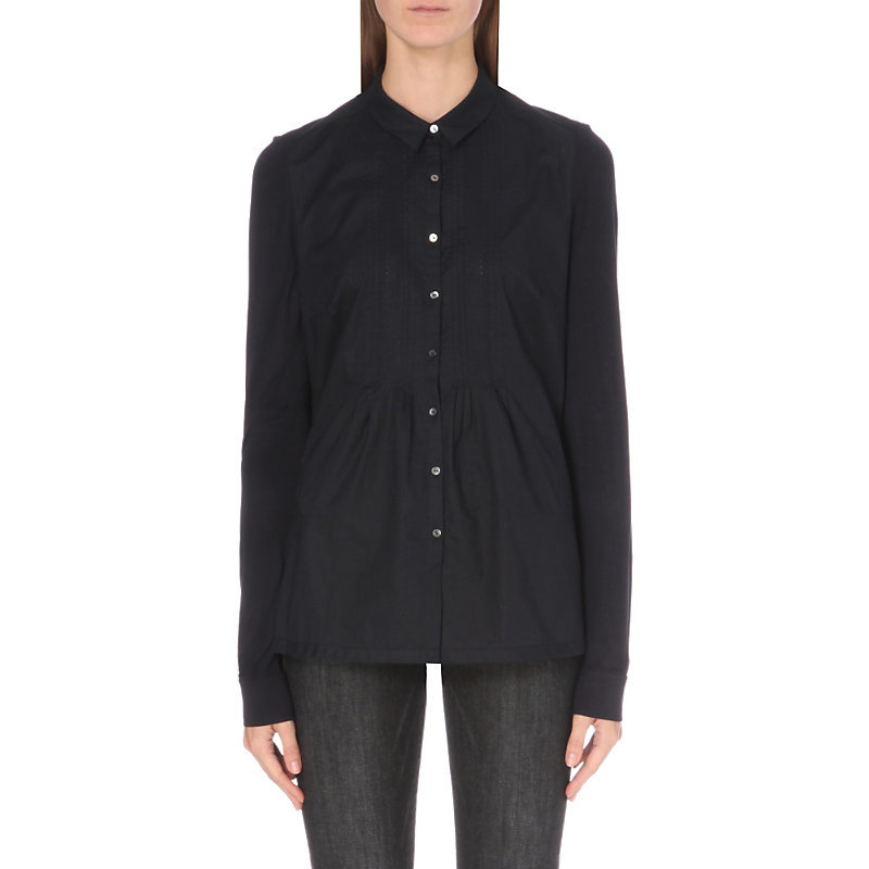 Pleated Stretch Cotton Shirt, Women's, Blue - neckline: shirt collar/peter pan/zip with opening; pattern: plain; style: shirt; predominant colour: black; occasions: evening; length: standard; fibres: cotton - stretch; fit: body skimming; sleeve length: long sleeve; sleeve style: standard; pattern type: fabric; texture group: jersey - stretchy/drapey; season: a/w 2016; wardrobe: event