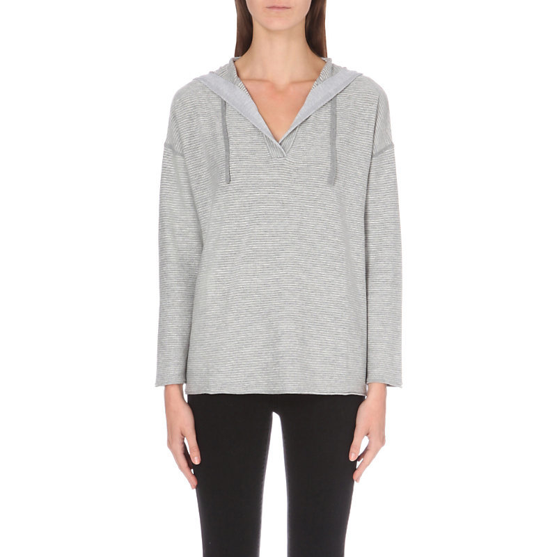 Striped Hooded Knitted Hoody, Women's, Grey/Tan - neckline: v-neck; pattern: plain; predominant colour: light grey; occasions: casual; length: standard; fibres: cotton - mix; fit: loose; sleeve length: long sleeve; sleeve style: standard; texture group: knits/crochet; pattern type: knitted - fine stitch; wardrobe: basic; style: hoody; season: a/w 2016