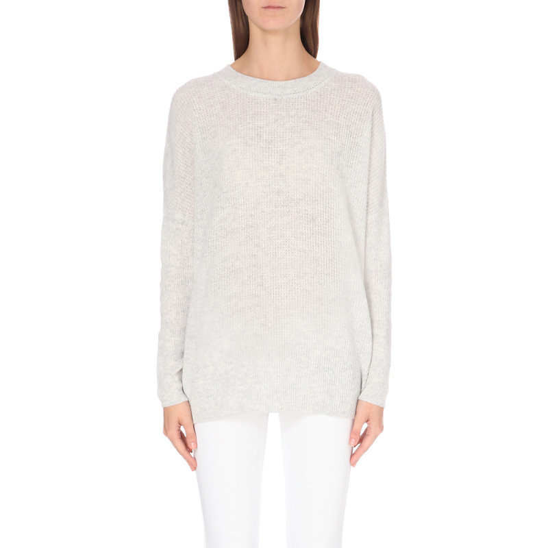 Slouchy Fine Knit Wool Jumper, Women's, Pale Grey Marl - pattern: plain; length: below the bottom; style: standard; predominant colour: light grey; occasions: casual; fibres: wool - 100%; fit: standard fit; neckline: crew; sleeve length: long sleeve; sleeve style: standard; texture group: knits/crochet; pattern type: knitted - fine stitch; wardrobe: basic; season: a/w 2016