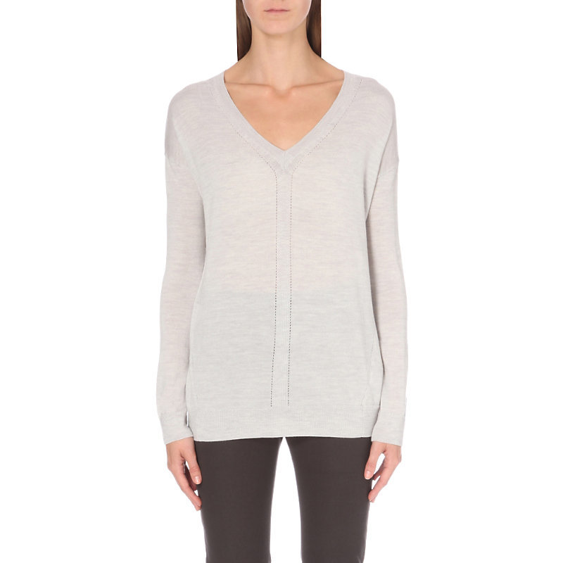 Pointelle Detail V Neck Wool Jumper, Women's, Pale Grey Marl - neckline: low v-neck; pattern: plain; style: standard; predominant colour: light grey; occasions: casual; length: standard; fibres: wool - 100%; fit: slim fit; sleeve length: long sleeve; sleeve style: standard; texture group: knits/crochet; pattern type: knitted - fine stitch; wardrobe: basic; season: a/w 2016